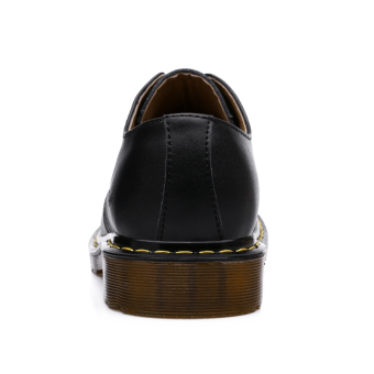 Seanut Men's Casual Genuine Leather Lace Shoes Formal Shoes (Black) - 5