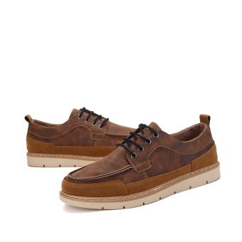 Seanut Men's Casual shoes Low Cut Shoes(Brown) - 5