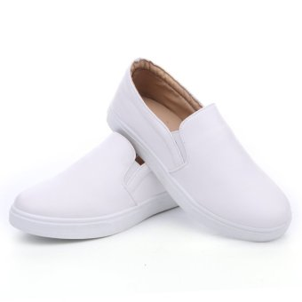 Seanut Men's Casual Slip-On Loafers PU Upper Casual Shoes (White) - 5