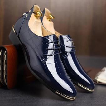 Seanut Men's Genuine Leather Business Casual Shoes Formal ShoesLarge Size 37-48 Kasut Lelaki (Blue) - intl - 3