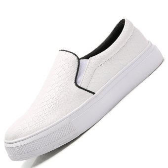 Seanut Women Casual Flats Shoes Slip-On (White)