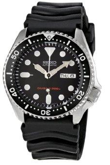 Seiko Men's Black Rubber Strap Watch SKX007K