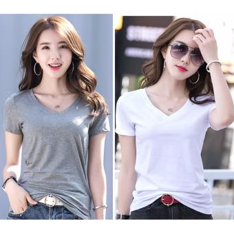Set of Fashion Organic Cotton V Neck Shirts for Women - Gray and White
