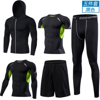 Sets of short sleeved quick-drying Running clothing fitness clothing (Five cap/silk screen (long + SHORT) Green Net)
