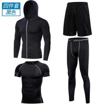 Sets of short sleeved quick-drying Running clothing fitness clothing (Four cap/Classic Short)