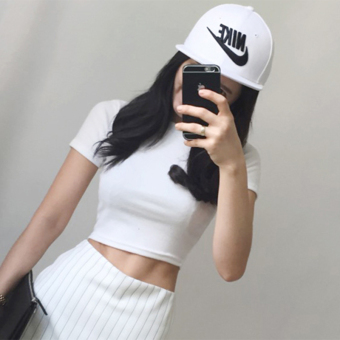 Sexy cotton solid color slim fit T-shirt Top (White small high collar)