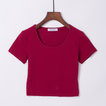 Sexy cotton solid color slim fit T-shirt Top (Wine red color round neck)