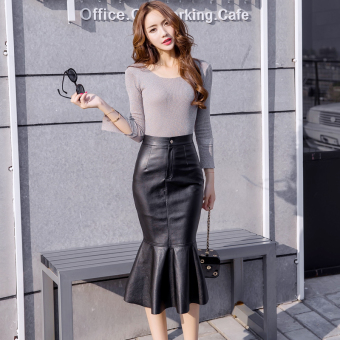 Sexy female New style autumn skirt leather skirt