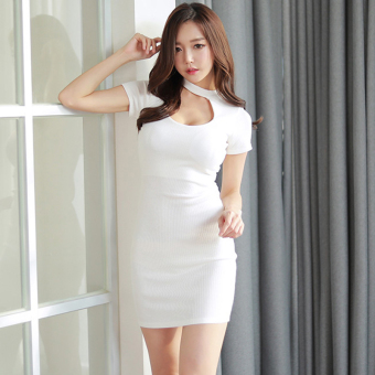 Sexy female short-sleeved halter Slim fit bottoming skirt dress (White)