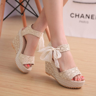 Sexy Lace Shoes Peep Toe Wedge Womens Platform High Heel Pump Sandals Bowknot -Intl Price Philippines