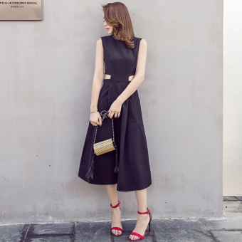 Sexy mid-length black dress sleeveless dress Dress