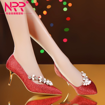 Sexy red fine with diamond shoes high-heeled shoes (Red)