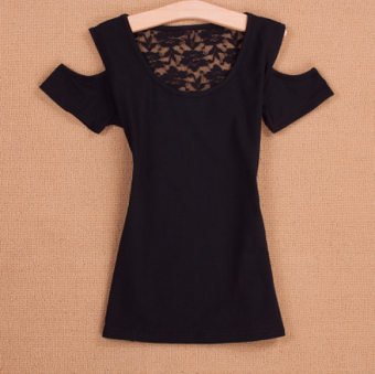 Sexy round neck lace backless base shirt Short sleeve Top (Black)