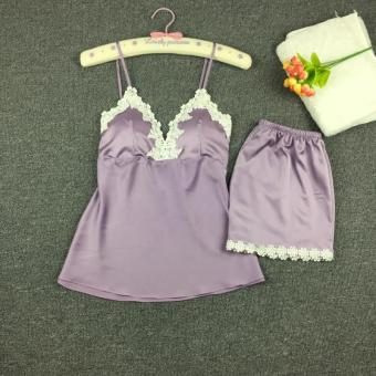 Sexy silk female summer tracksuit pajamas (Violet)