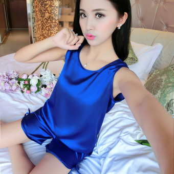 Sexy silk women's short sleeved tracksuit pajamas (1618 set blue)