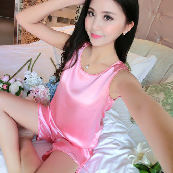 Sexy silk women's short sleeved tracksuit pajamas (1618 suit watermelon Hong)
