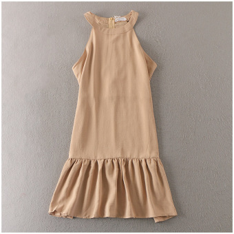 Sexy solid color sleeveless dress medium-length dress