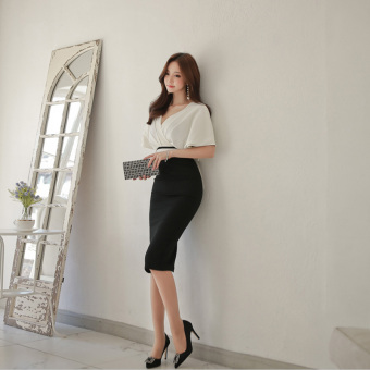 Sexy temperament Slim fit V-neck short skirt dress