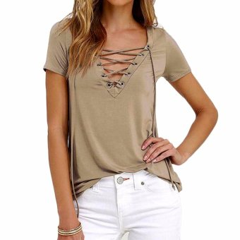 Sexy V-neck Laced-up Shirt (Khaki)