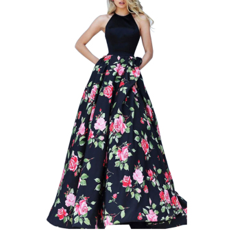 Sexy Women Lady Fashion Sleeveless Backless High Waist Halter Neck Evening Gown Long Party Dress (Black)