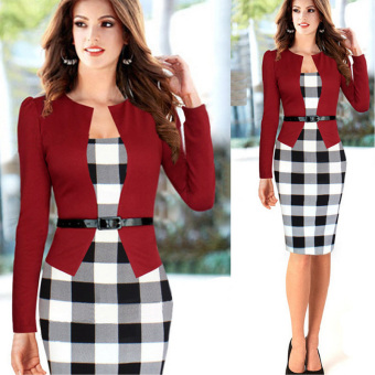 Sexy Women Long Sleeve Slim Plaid Bodycon Cocktail Party Evening Pencil OL Dress Red - Intl