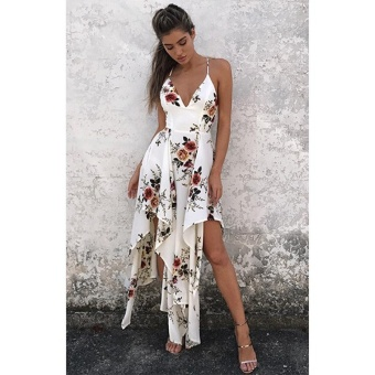 Sexy Women Maxi Dress Deep V Neck Floral Print Asymmetrical SummerBeach Bohemian Long Slip Dress White - intl