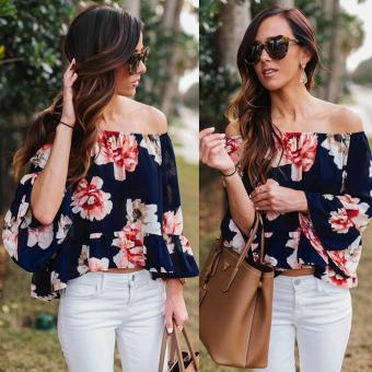 Sexy Women Off Shoulder 3/4 Sleeve Floral Ruffles Blouse Tops -intl Price Philippines