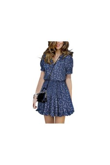Sexy Women Paisley Print V neck Hippie Sundress Short Dress Blue - picture 3