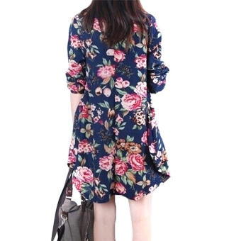Sexy Womens Floral Linen Long Sleeve V-Neck Cute Party Mini Dress Dark Blue - 2
