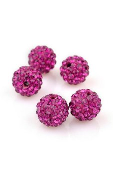 Shamballa Crystal Clay Pave Rhinestone Disco Ball Beads (Red)