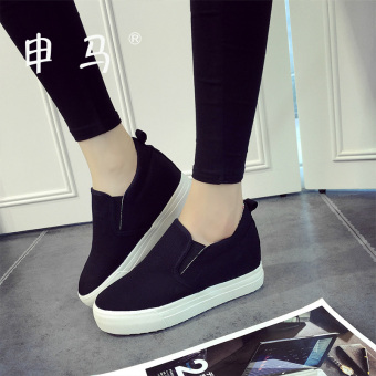 Shen Ma Korean-style autumn and winter thick bottomed elevator canvas shoes (Black)
