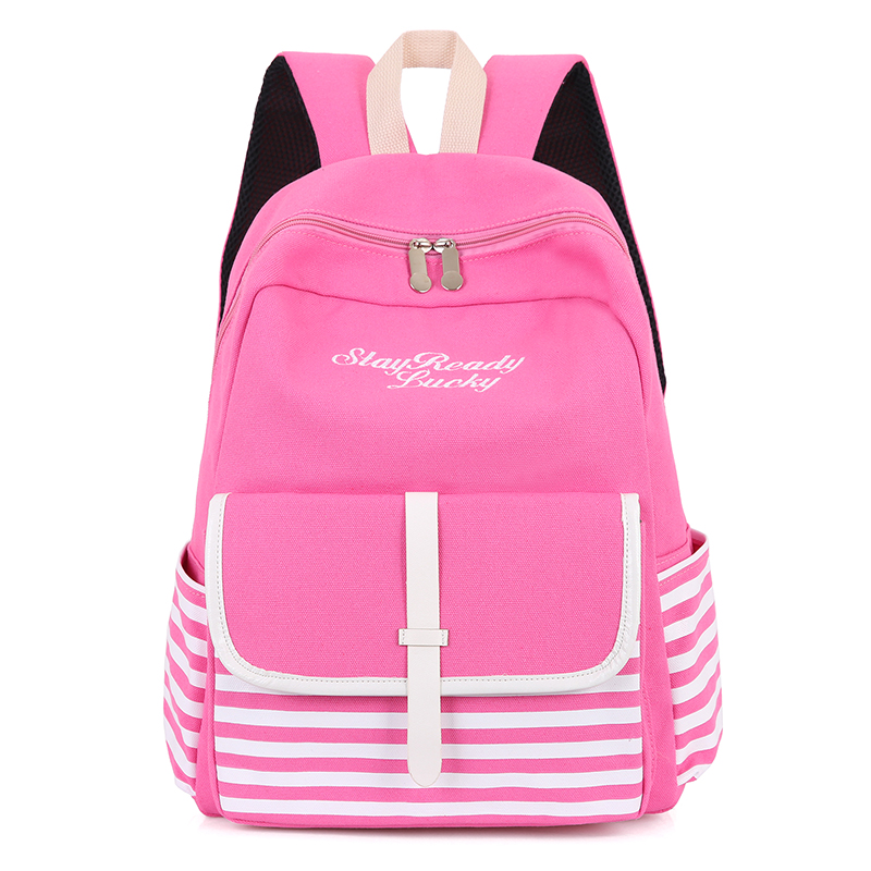 SHENGXILU college style canvas Japanese and Korean style high school student school bag backpack Pink