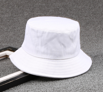 SHININGSTAR Korean-style white male women's hat bucket hat (White)