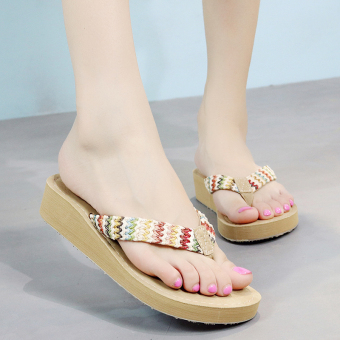 Shishang female New style sandals slippers (Beige)