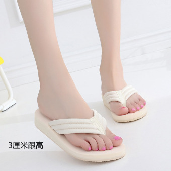 Shishang female outerwear flip-flops New style sandals and slippers shoes (3 cm cloth belt beige)
