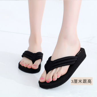 Shishang female outerwear flip-flops New style sandals and slippers shoes (3 cm cloth belt black)