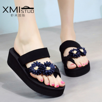 Shishang female outerwear sandals New style slippers (7231 W semi-high heeled foot covering slippers black dark blue + dark blue daisy)