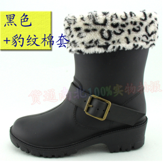 Shishang female summer in the shoe cover rain boots (Black + leopord pattern cotton intercropping)
