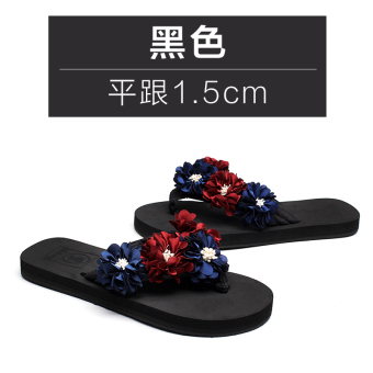 Shishang female thick bottomed flower sandals slippers (Black flat 1.5 cm)