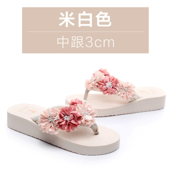 Shishang female thick bottomed flower sandals slippers (Off-white color semi-high heeled 3 cm)