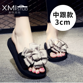 Shishang flat A-line slippers handmade slippers (7199 W semi-high heeled sandals gray Big Flower flower)