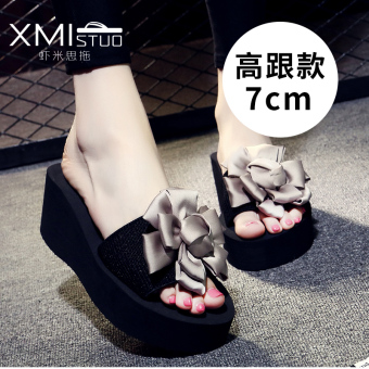 Shishang flat A-line slippers handmade slippers (7199W high-heeled sandals gray Big Flower flower)