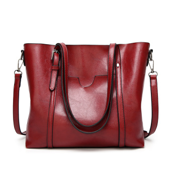 Shishang large capacity shoulder bag women's bag (Wine red color)