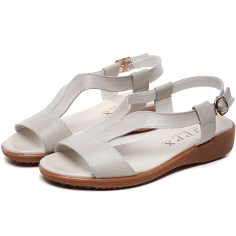 Shishang leather female New style women's shoes Korean-style sandals (Beige)