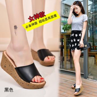 Shishang leather summer muffin thick bottomed sandals and slippers shoes (Black)