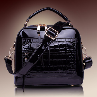 Shishang patent leather New style women's bag (Black)