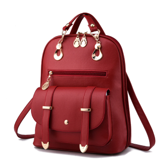Shishang women's Shishang bag backpack (Wine red color)