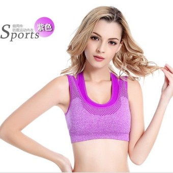 Shock-resistant yoga fitness running push up underwear I bra (Purple)