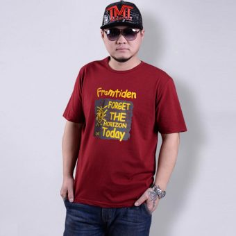 Short sleeved Plus-sized large yards Short sleeve Top T-shirt (SUN Burgundy color)