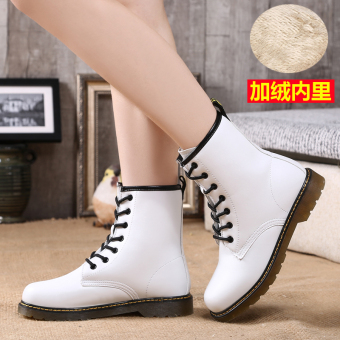 Short Tube lace warm boots leather Women's boots (658 white (Plus velvet))